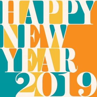 Etiqueta y etiqueta de felicitación de año nuevo 2019
