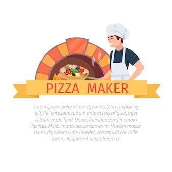Etiqueta de fabricante de pizza