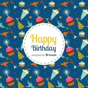 Etiqueta de feliz cumpleaños con dulces en el fondo