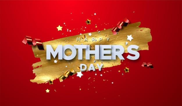 Etiqueta de feliz día de las madres con partículas de confeti y mancha de pintura dorada sobre fondo rojo.