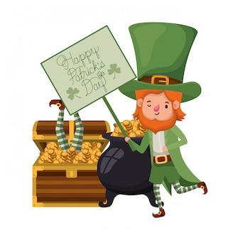 Etiqueta de feliz día de patricks con personaje de duende