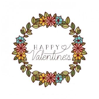 Etiqueta de feliz día de san valentín con los iconos de la corona de flores