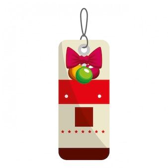 Etiqueta de feliz navidad colgando con bown y bolas