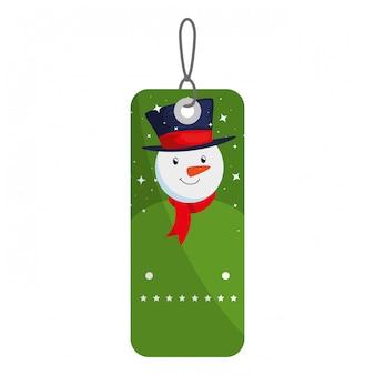 Etiqueta de feliz navidad colgando con muñeco de nieve