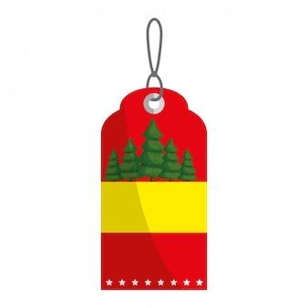 Etiqueta de feliz navidad colgando con pinos