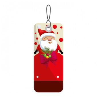 Etiqueta de feliz navidad colgando con santa claus