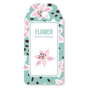 Etiqueta con flor de lirios rosados