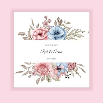 Etiqueta flor rosa azul acuarela marco invitación de boda