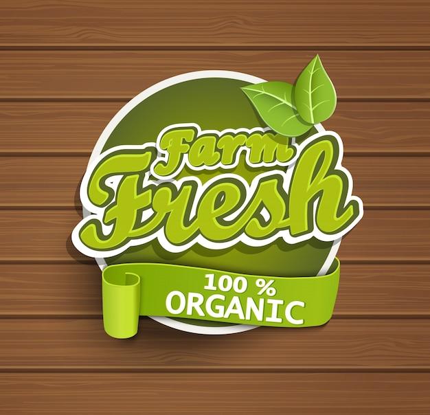 Etiqueta fresca de la granja.