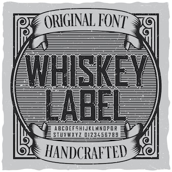 Etiqueta de fuente de etiqueta de whisky