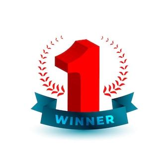 Etiqueta de ganador número uno en estilo 3d