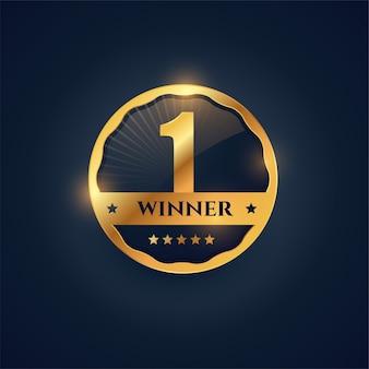 Etiqueta de ganador número uno en estilo insignia dorada