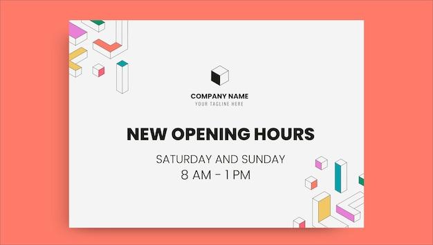 Etiqueta general de horario de apertura nuevo y moderno.