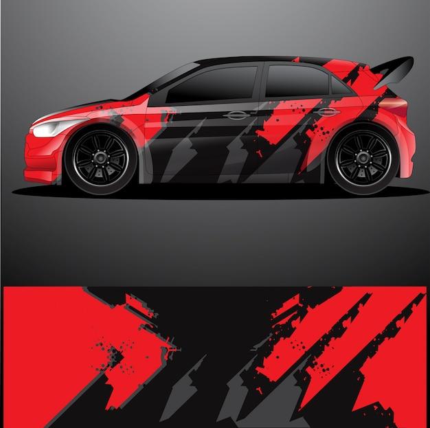Etiqueta gráfica del coche de rally, diseño abstracto