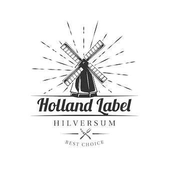 Etiqueta de granja de leche sobre fondo blanco. elemento para la quesería. plantilla para logotipo, señalización, marca. ilustración