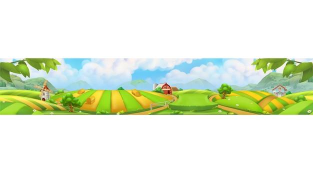 Etiqueta de la granja, paisaje panorámico, fondo