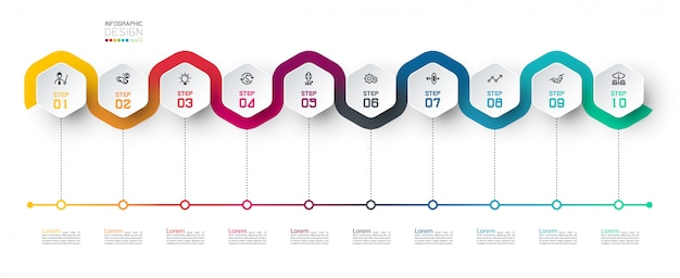 Etiqueta hexagonal con infografías vinculadas a la línea de color.