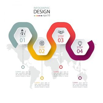 Etiqueta hexagonal con línea de color vinculada infografía.