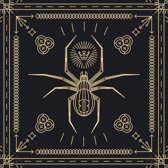 Etiqueta de hipster de araña de línea delgada. insecto animal, vintage y retro, marco dorado.