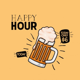 Etiqueta hora feliz cervezas con jarra