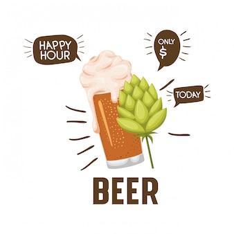 Etiqueta de hora feliz con el icono de cerveza aislado