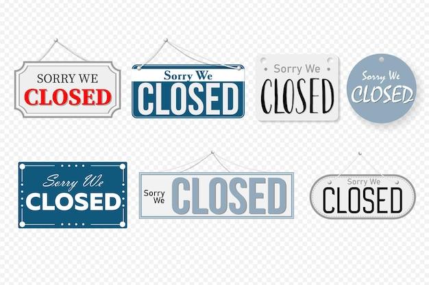 Etiqueta de información de aviso cerrado, cartel con mensaje recordatorio. conjunto de banner de diseño de arte en la tienda de la puerta, letrero con cuerda, ilustración de vector de señalización de tienda en línea aislado sobre fondo blanco