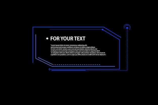 Etiqueta de información digital sobre fondo negro. elemento de diseño para web, folleto, presentación o infografía. títulos de llamadas. conjunto de plantilla de marco de ciencia ficción futurista de hud.eps10