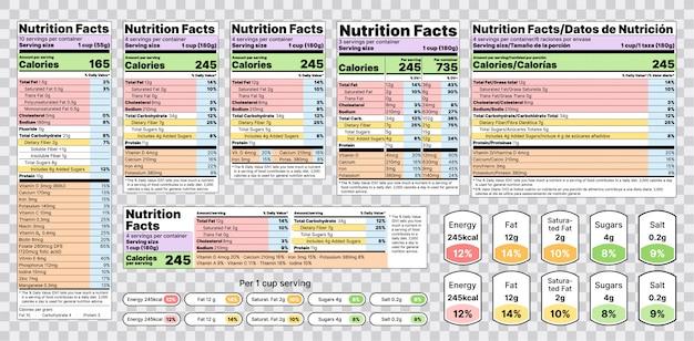 Etiqueta de información nutricional. ilustración. conjunto de tablas de información alimentaria.