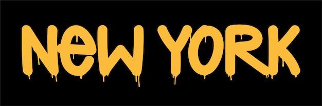 Etiqueta de inscripción new york graffiti letras.