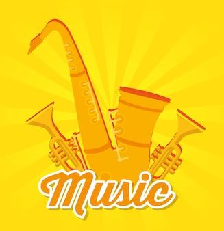 Etiqueta de instrumentos musicales de saxofón y trompetas