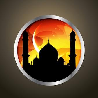 Etiqueta islámica con mezquita