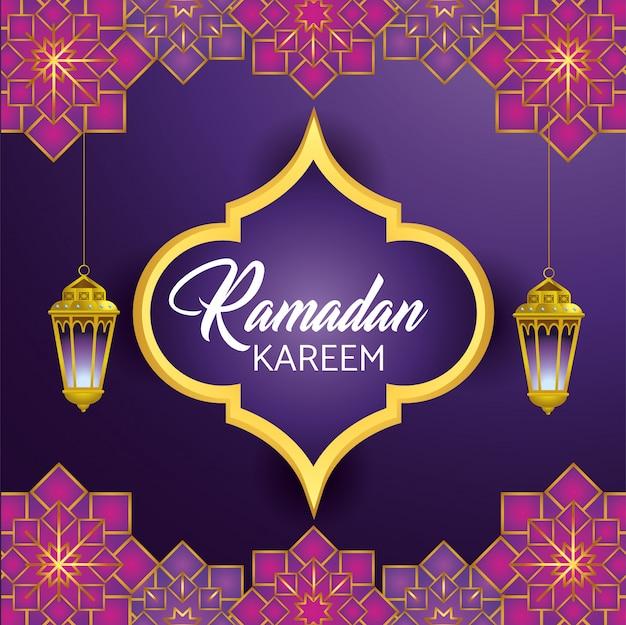 Etiqueta con lámparas colgantes para celebración de ramadan kareem.
