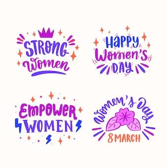 Etiqueta de letras del día internacional de la mujer dibujada a mano