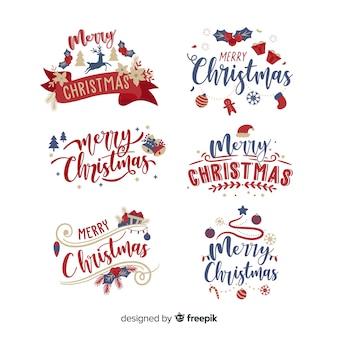 Etiqueta de letras de navidad sobre fondo blanco.