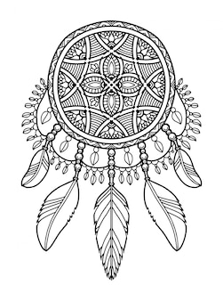 Etiqueta de libro para colorear mandala dream catcher