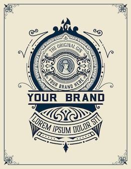 Etiqueta de licor diseño vintage retro. ginebra, whisky u otros productos