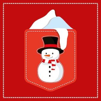 Etiqueta con lindo personaje de navidad muñeco de nieve