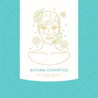 Etiqueta lineal para cosmética natural. ilustración de la cabeza de una niña con cabello sano.