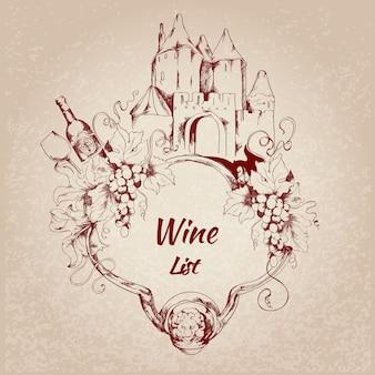 Etiqueta de lista de vinos