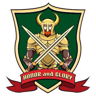 Etiqueta, logo o emblema guerrero en casco con hors en escudo. ilustración vectorial