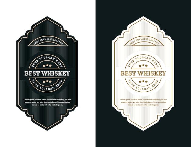 Etiqueta de logotipo de marcos de embalaje de lujo vintage para botella de alcohol y bebidas de whisky de cerveza