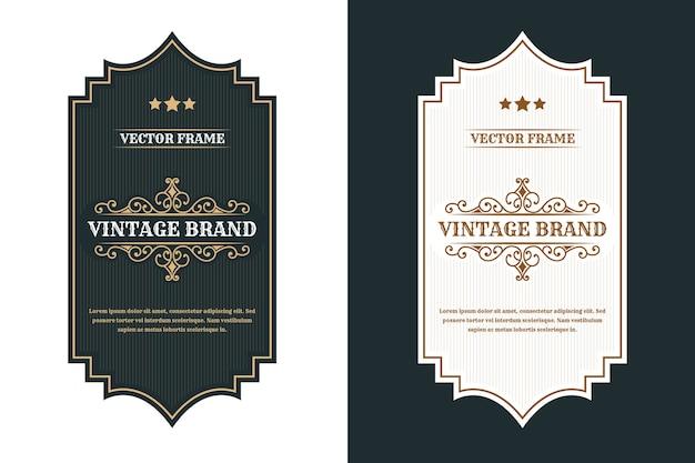 Etiqueta de logotipo de marcos de lujo real vintage para etiquetas de botellas de bebidas y alcohol de whisky
