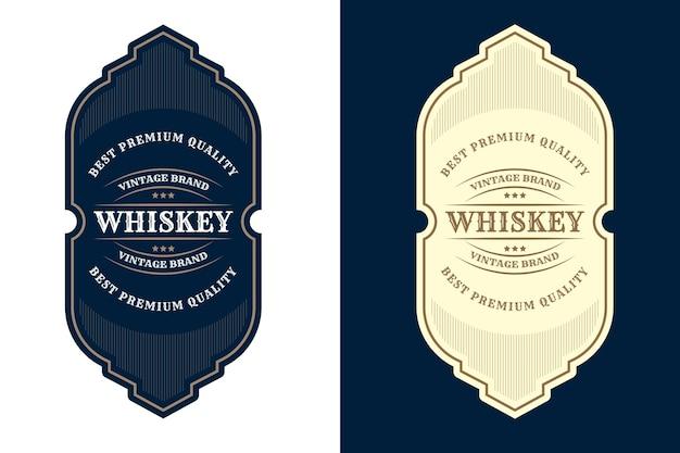 Etiqueta de logotipo de marcos de lujo vintage para etiquetas de botellas de bebidas y alcohol de whisky de cerveza premium