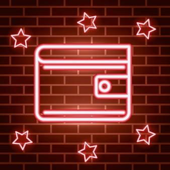 Etiqueta de luces de neón con billetera