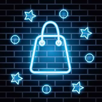 Etiqueta de luces de neón con bolsas de compras