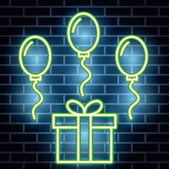 Etiqueta de luces de neón con caja de regalo y globos de helio
