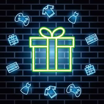Etiqueta de luces de neón con caja de regalo