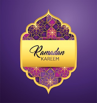 Etiqueta con luna y estrellas a ramadan kareem.