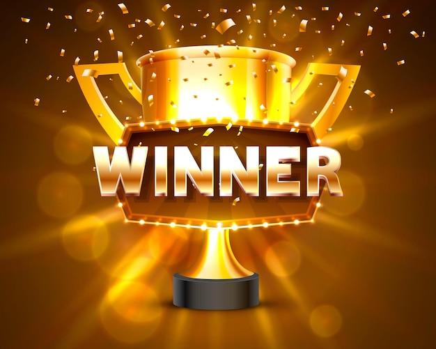 Etiqueta de marco de ganador, cintas que caen ganador de la copa. ilustración vectorial
