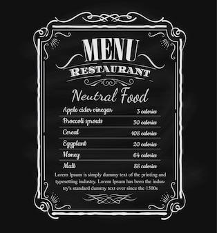 Etiqueta de marco de pizarra dibujada mano vintage restaurante menú